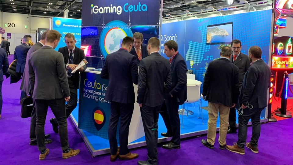 Imagen del stand de Ceuta en la Ice Totally Gaming 2020 de Londres.